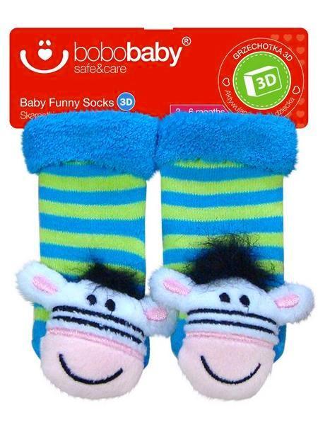 Ponožky dojčenské s hrkálkou Bobo Baby zebra