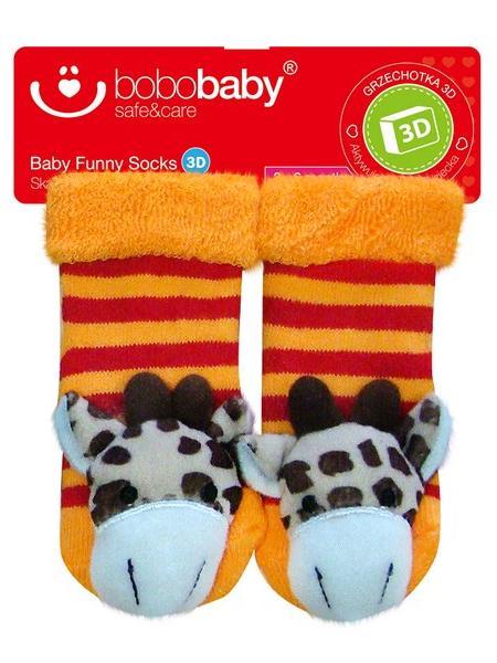 Ponožky dojčenské s hrkálkou Bobo Baby žirafa