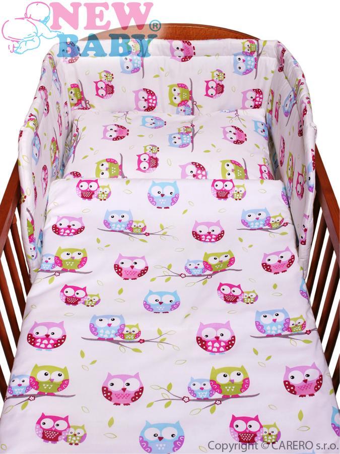 3-dielne posteľné obliečky New Baby 100/135 cm biele so sovou