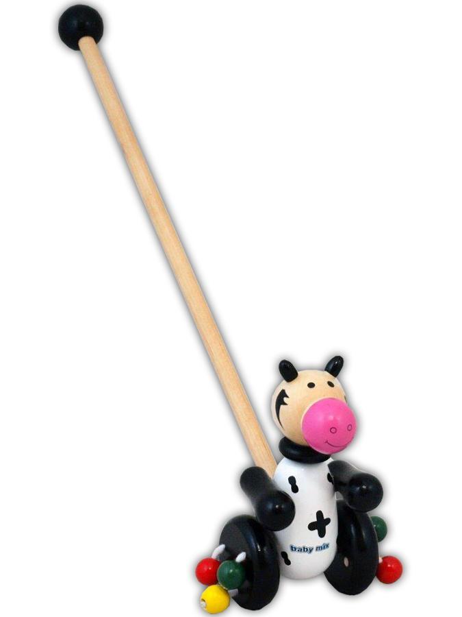 Drevená jazdiaca hračka Baby Mix kravička