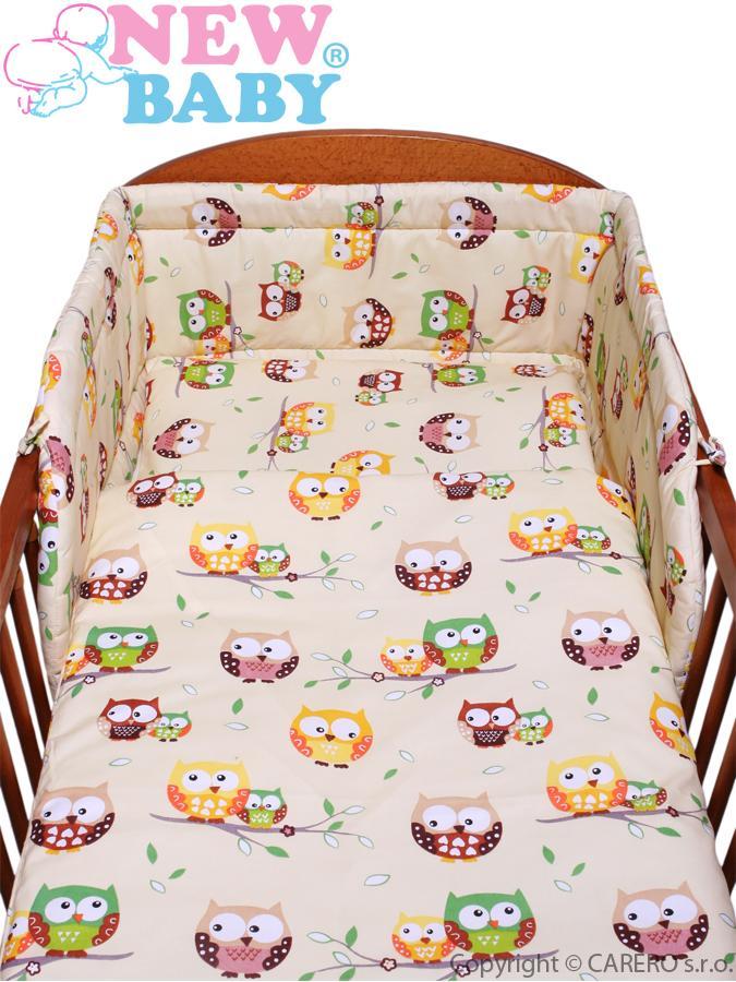 3-dielne posteľné obliečky New Baby 90/120 cm bežové so sovou