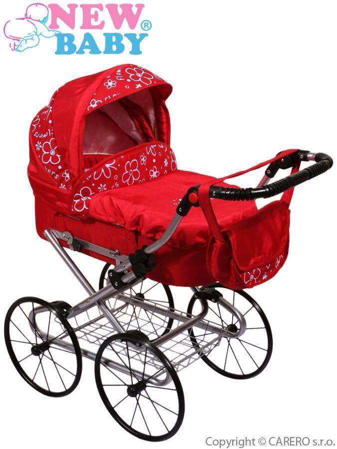 Hlboký kočík pre bábiky New Baby červený