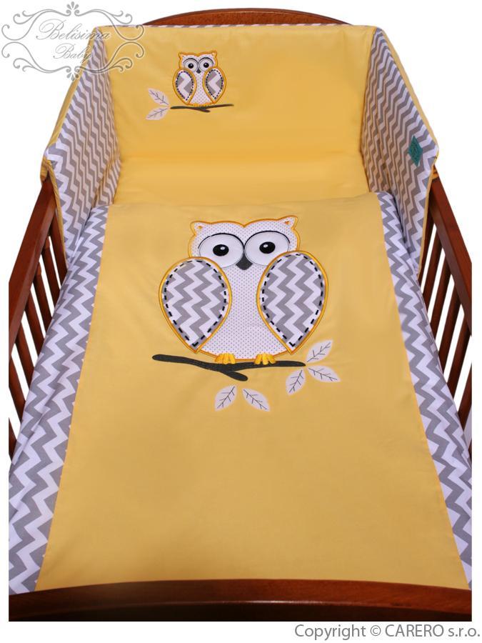 3-dielne posteľné obliečky Belisima Múdra Sovička 100/135 žlté