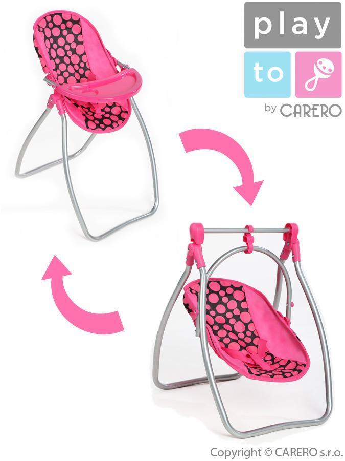 Jedálenská stolička a hojdačka 2v1 pre bábiky PlayTo Isabella
