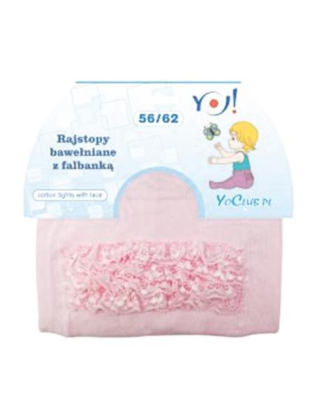 Detské pančucháčky bavlnené s volánikom ružové
