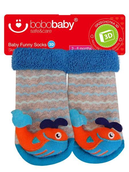 Ponožky dojčenské s hrkálkou Bobo Baby veľryba