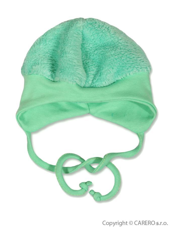 Fleecová čiapočka Baby Service Chlpáčik zelená