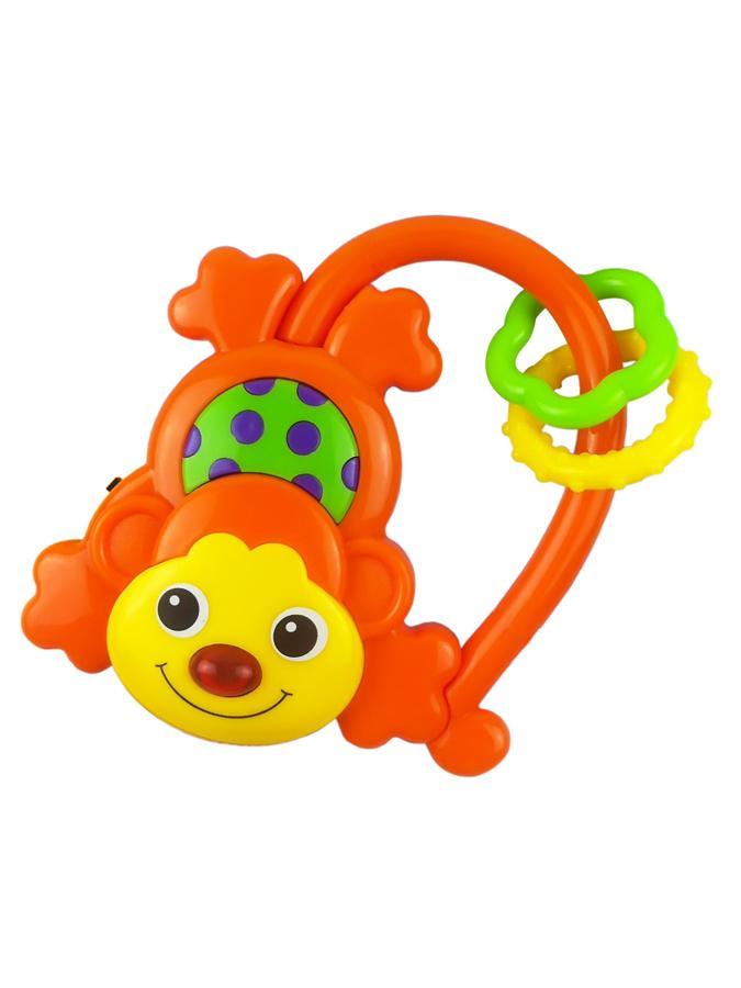 Detská hrkálka so zvukom Baby Mix Opička oranžová