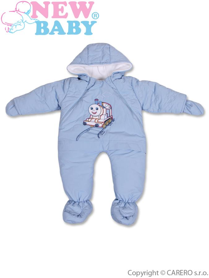 Zimná kombinéza New Baby modrá s mašinkou