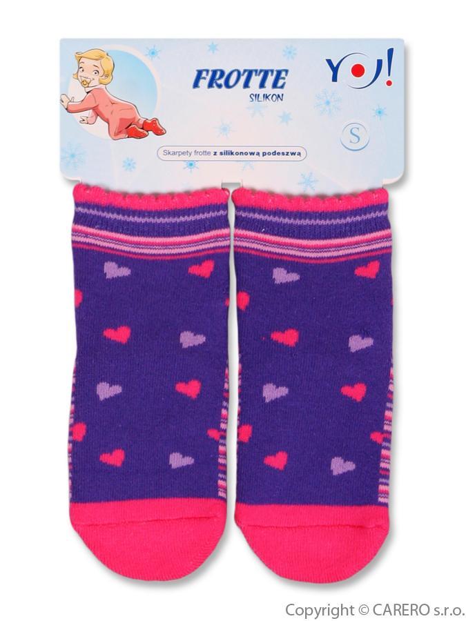Froté ponožky fialové s srdiečkami