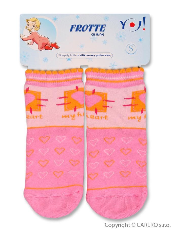 Froté ponožky ružové my heart