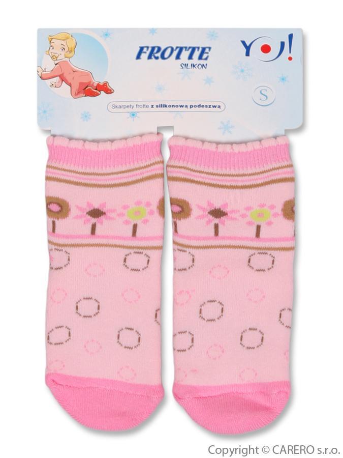 Froté ponožky ružové s kvetinou a kolieskom