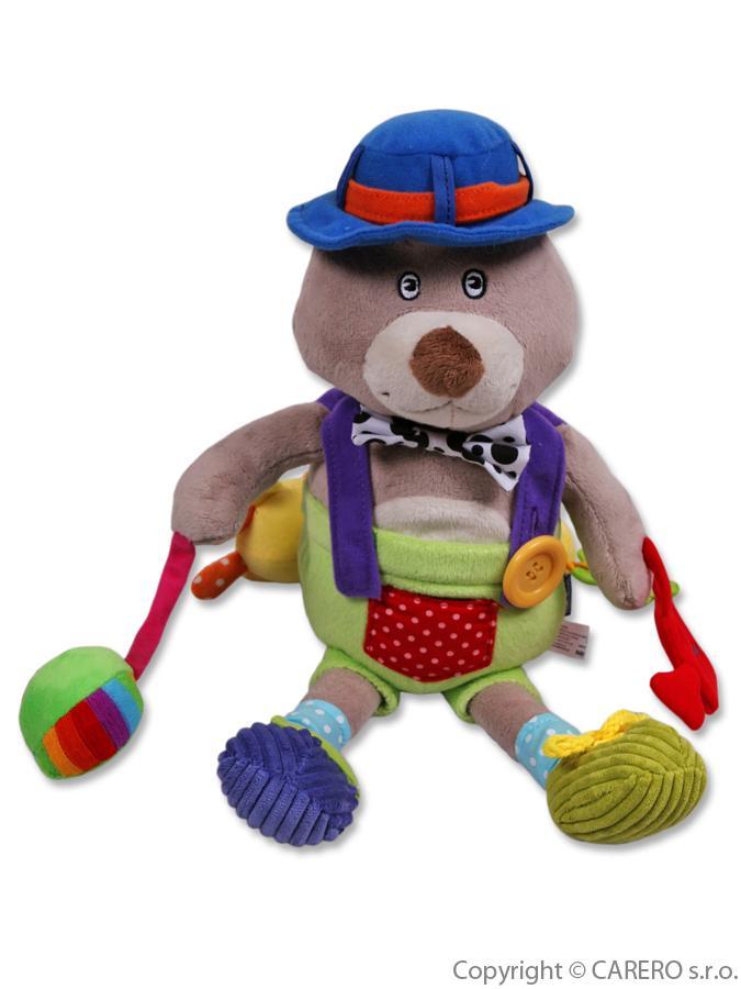 Detská plyšová hračka s hrkálkou a pískátkem Baby Mix macko