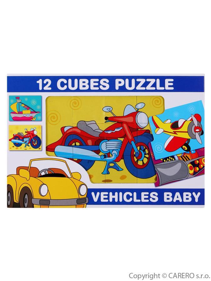 Skladacie obrázkové kocky 12 ks dopravné prostriedky