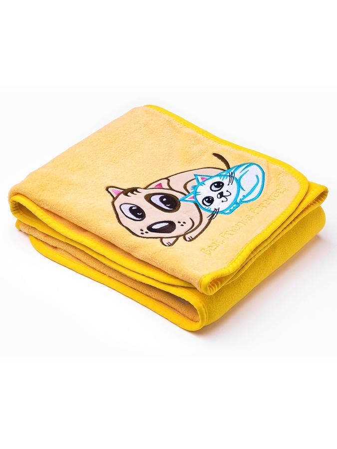 Detská deka Sensillo Psík a Mačička 75x100 cm yellow