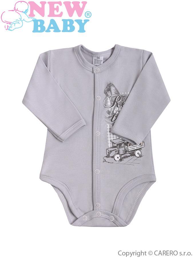 Dojčenské body celorozopínacie New Baby Retro sivé