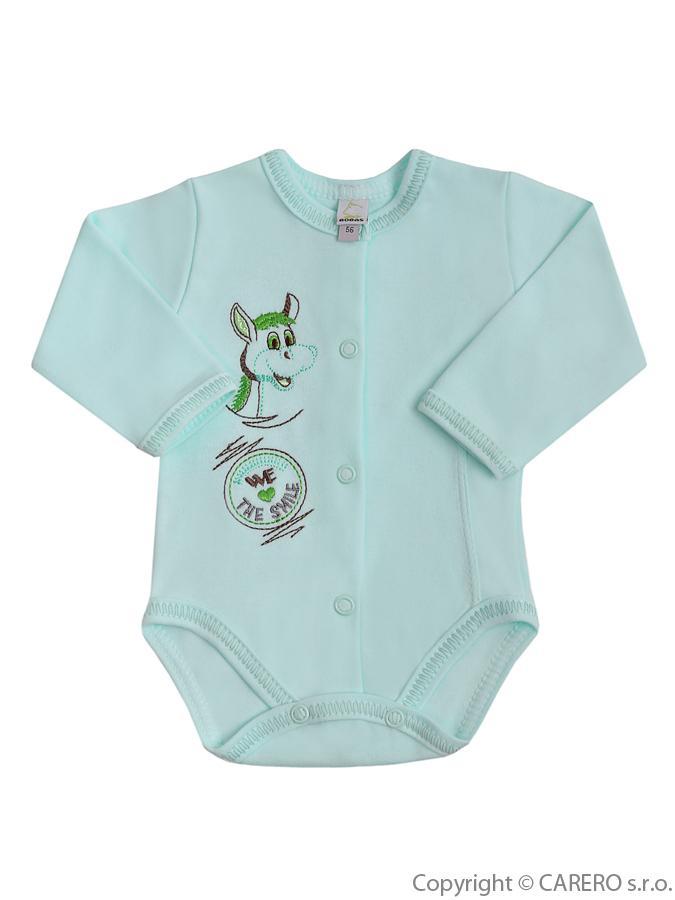Dojčenské body s dlhým rukávom Bobas Fashion Somárik zelené