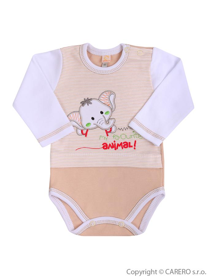 Dojčenské body s dlhým rukávom Koala Oli hnedé