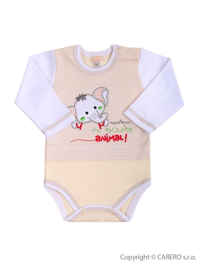Dojčenské body s dlhým rukávom Koala Oli bežové