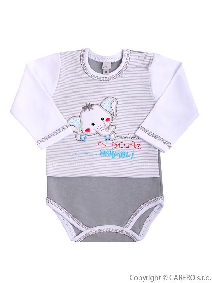 Dojčenské body s dlhým rukávom Koala Oli sivé