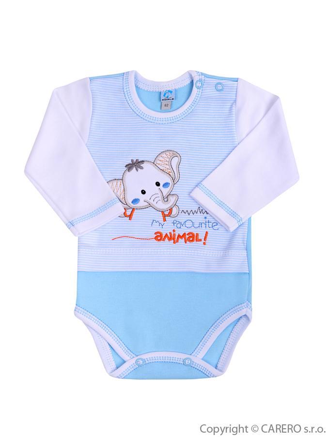 Dojčenské body s dlhým rukávom Koala Oli modré