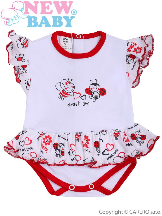 Dojčenské body s krátkym rukávom a volánikom New Baby Lienka