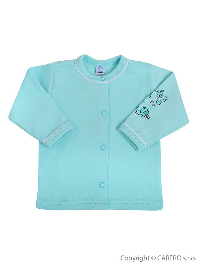 Dojčenský kabátik Bobas Fashion Benjamin tyrkysový
