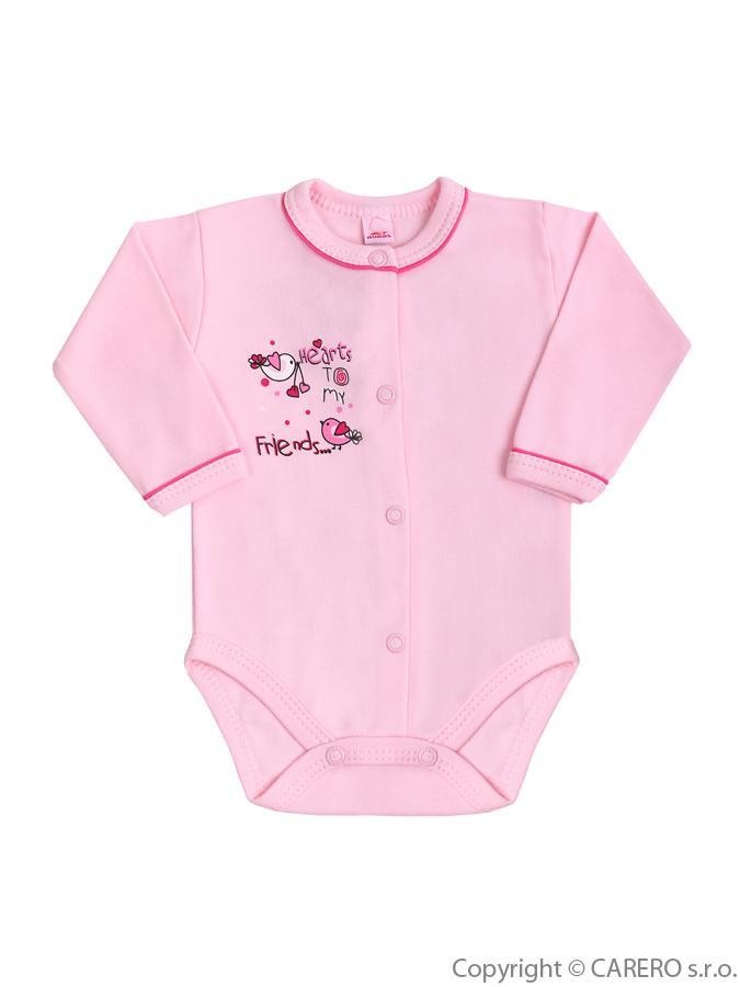 Dojčenské body s dlhým rukávom Bobas Fashion Benjamin ružové