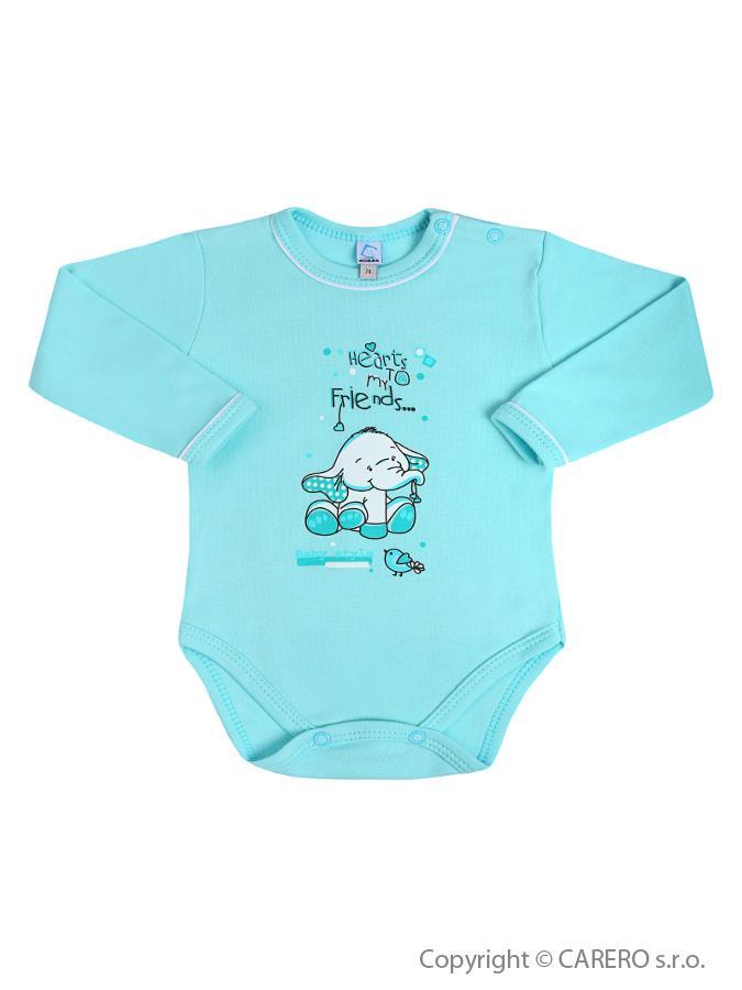 Dojčenské body s dlhým rukávom Bobas Fashion Benjamin tyrkysové