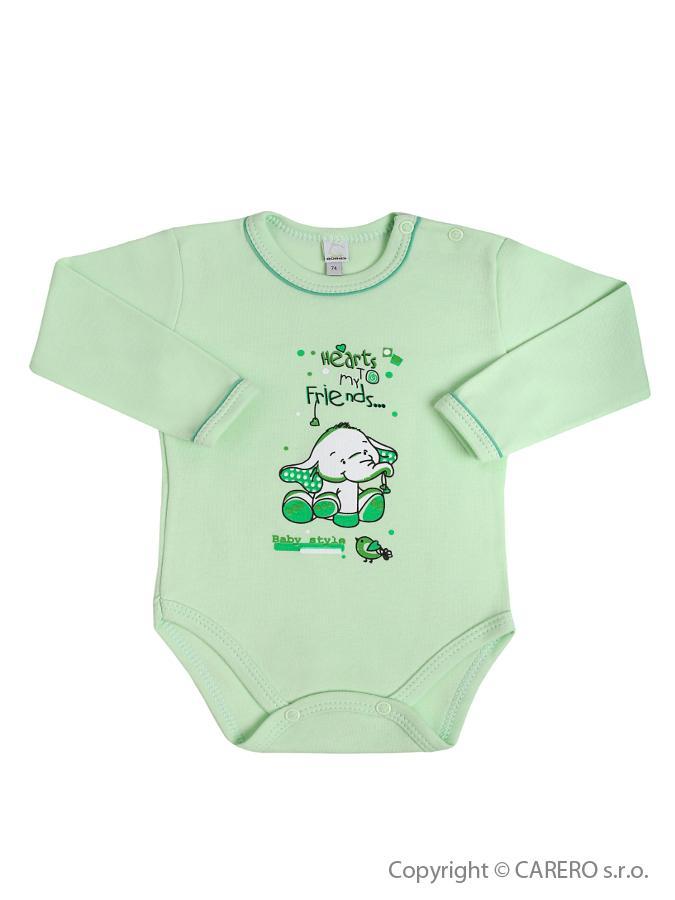 Dojčenské body s dlhým rukávom Bobas Fashion Benjamin zelené