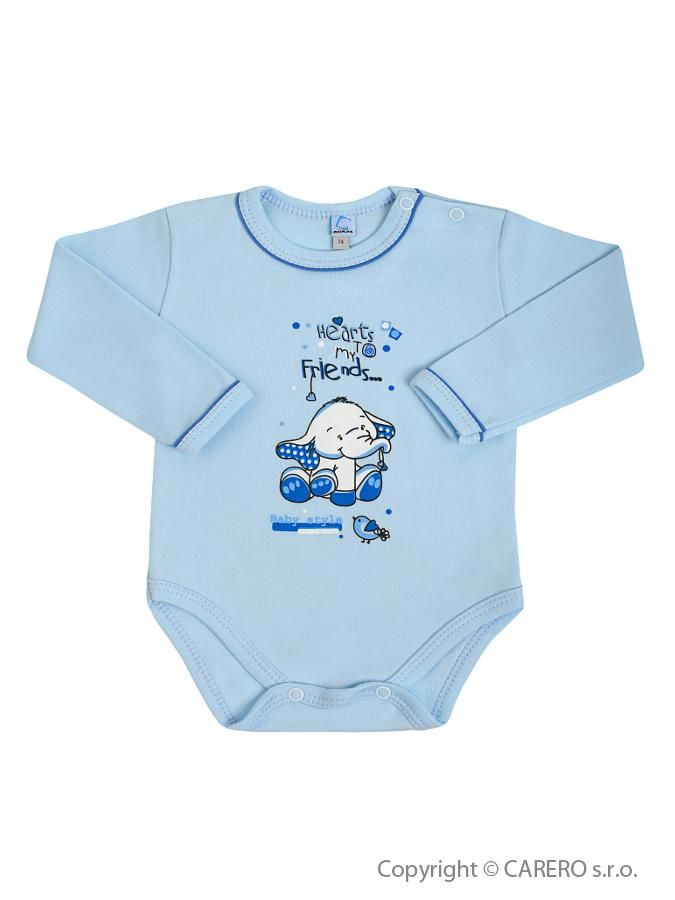 Dojčenské body s dlhým rukávom Bobas Fashion Benjamin modré