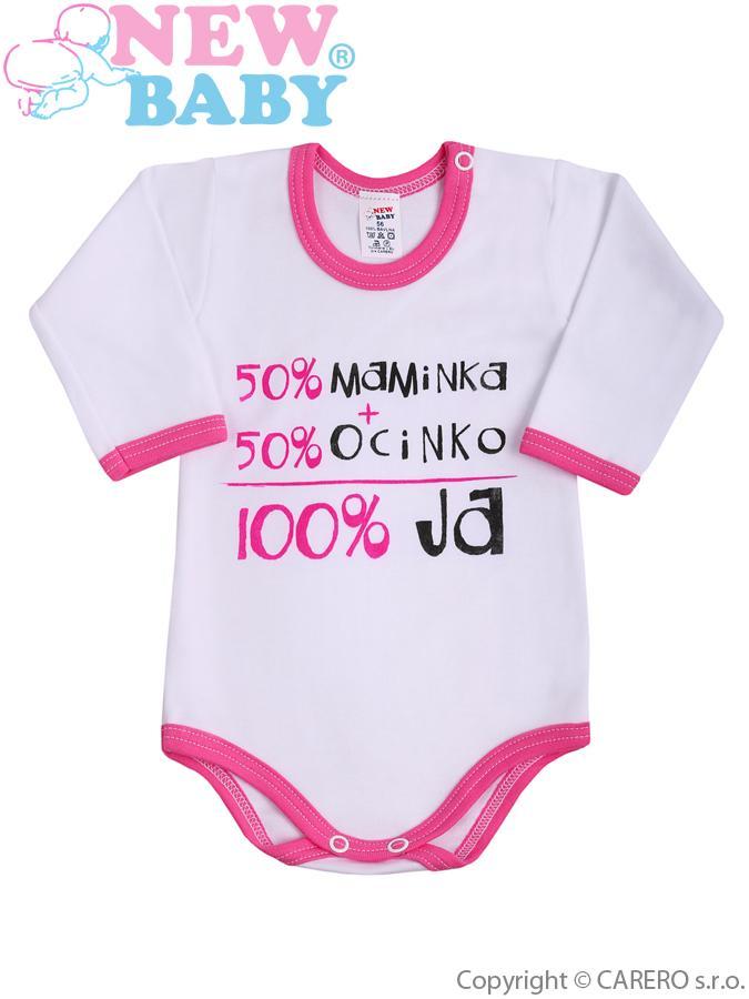 Body s dlhým rukávom so slovenským nápisom New Baby ružové