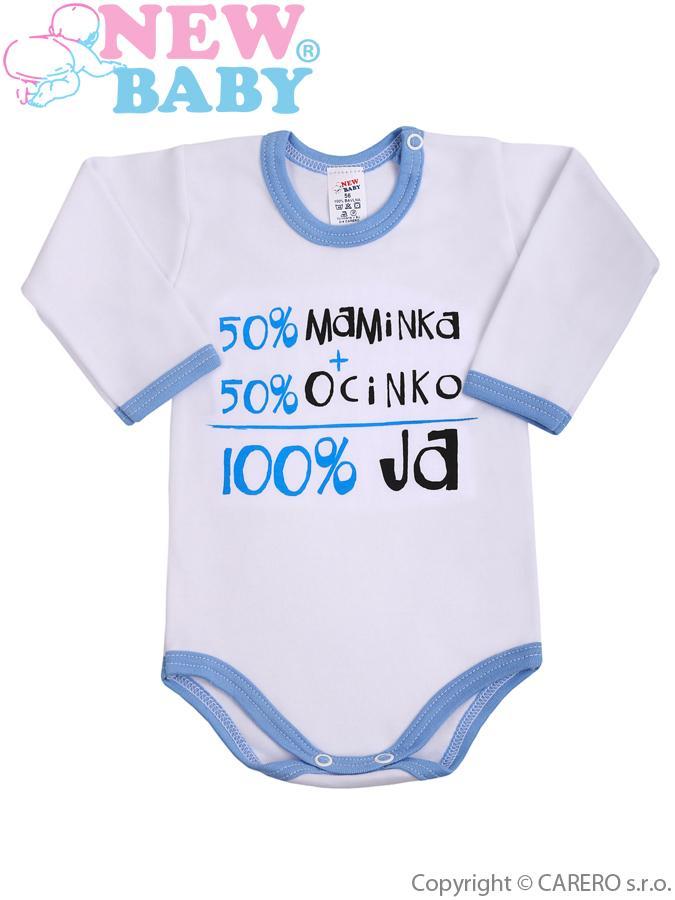 Body s dlhým rukávom so slovenským nápisom New Baby modré