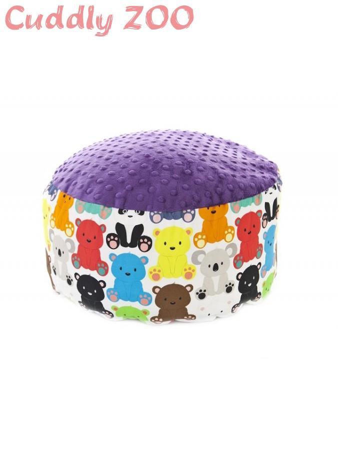 Detský taburet Cuddly Zoo Medvedík fialový