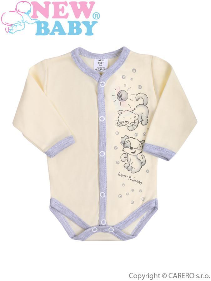 Dojčenské body s dlhým rukávom New Baby Kamaráti smotanové