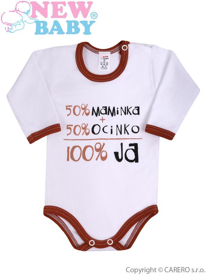 Body s dlhým rukávom so slovenským nápisom New Baby hnedé