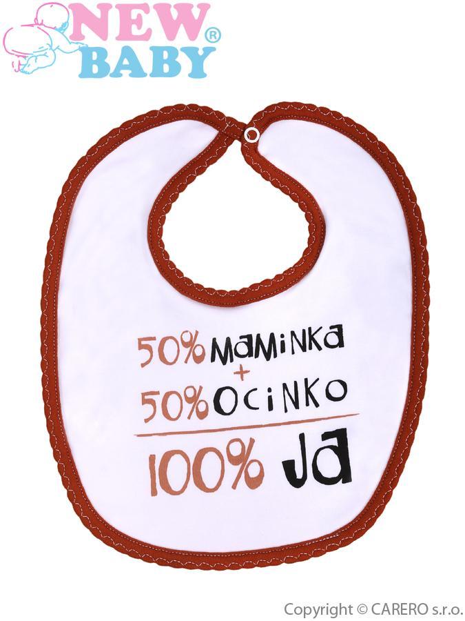 Detský podbradník so slovenským nápisom New Baby hnedý