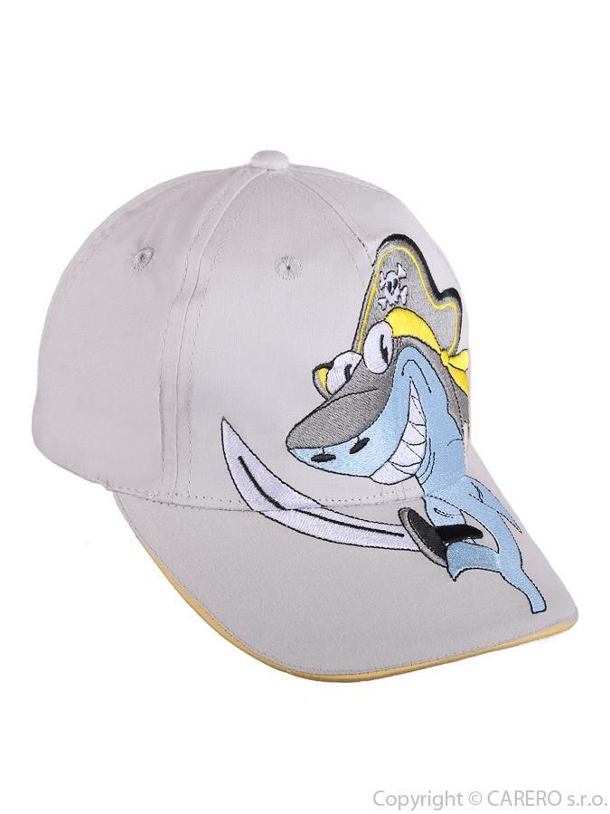 Letná detská šiltovka Žralok béžová