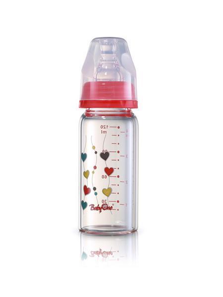 Sklenená dojčenská fľaša Baby Ono červená