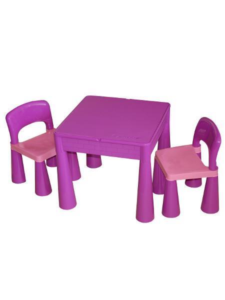 Detská sada stolček a dve stoličky fialová