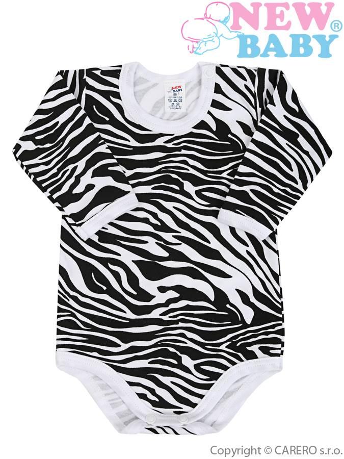 Dojčenské body s dlhým rukávom celopotlačené New Baby Zebra