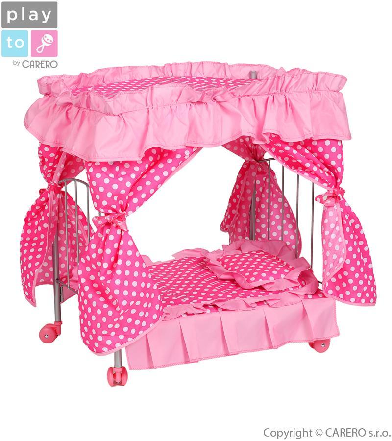 Postieľka s nebesami pre bábiky PlayTo  Amálka svetlo ružová