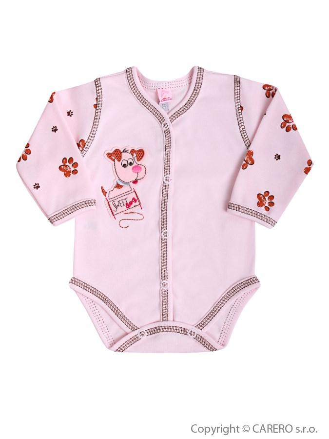 Dojčenské body s dlhým rukávom Koala Rexík ružové