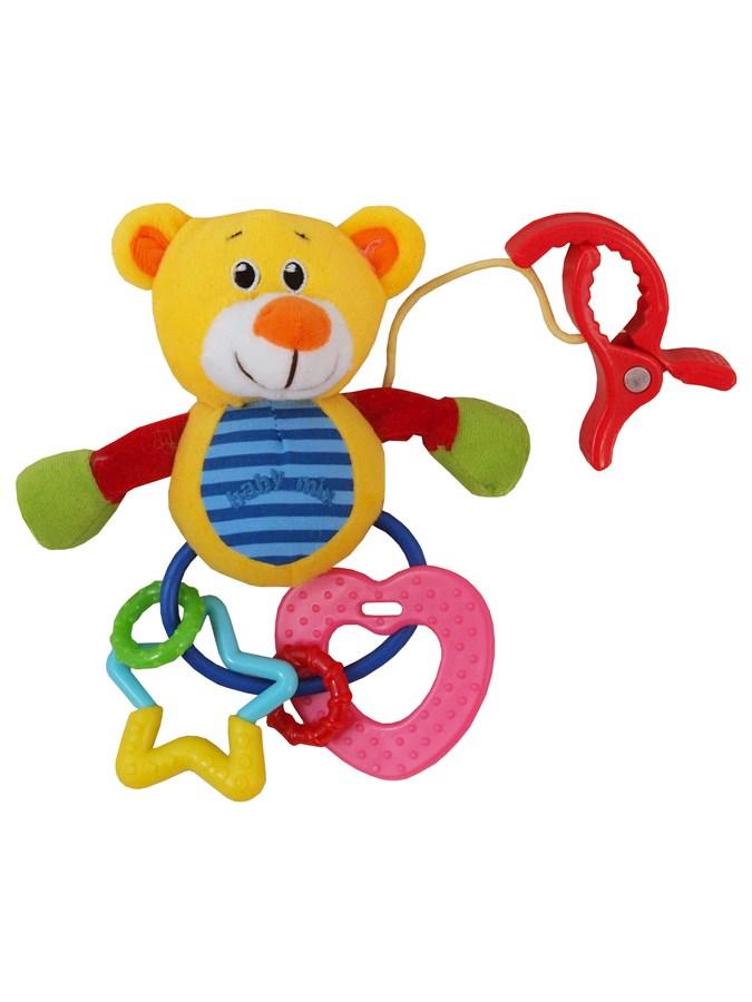 Plyšová hračka s chrastítkem Baby Mix medvěd