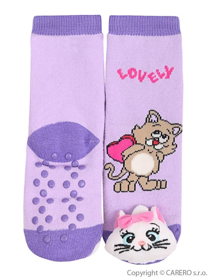 Dojčenské ponožky s hrkálkou a ABS Bobo Baby fialové s mačičkou