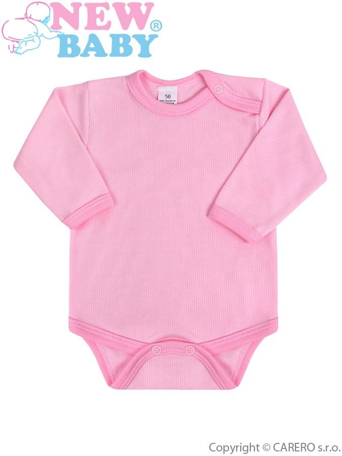 Dojčenské body s dlhým rukávom New Baby ružové