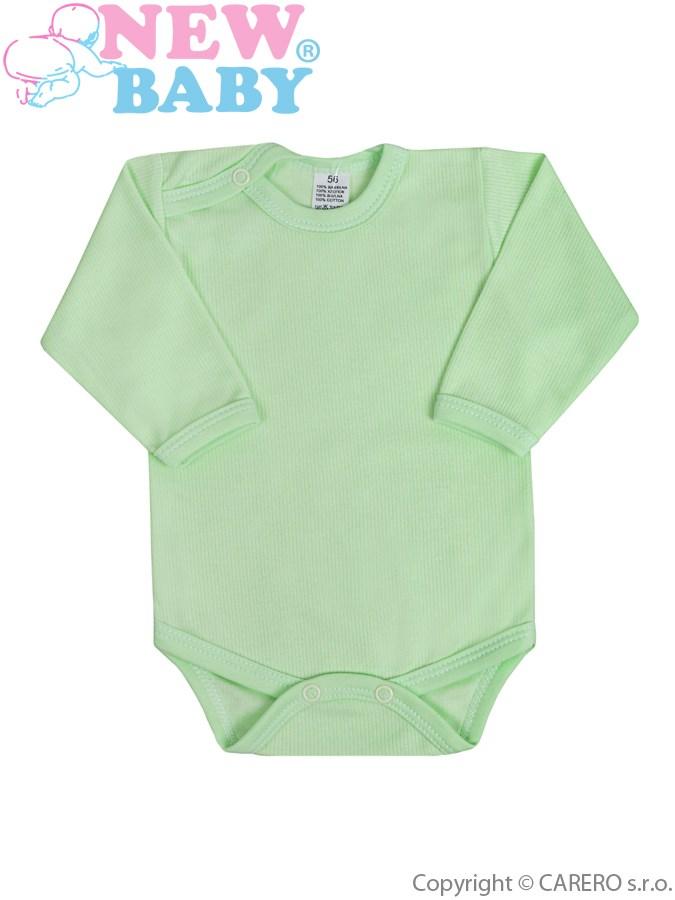 Dojčenské body s dlhým rukávom New Baby zelené