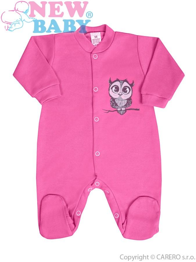 Dojčenský overal New Baby Sovička ružový