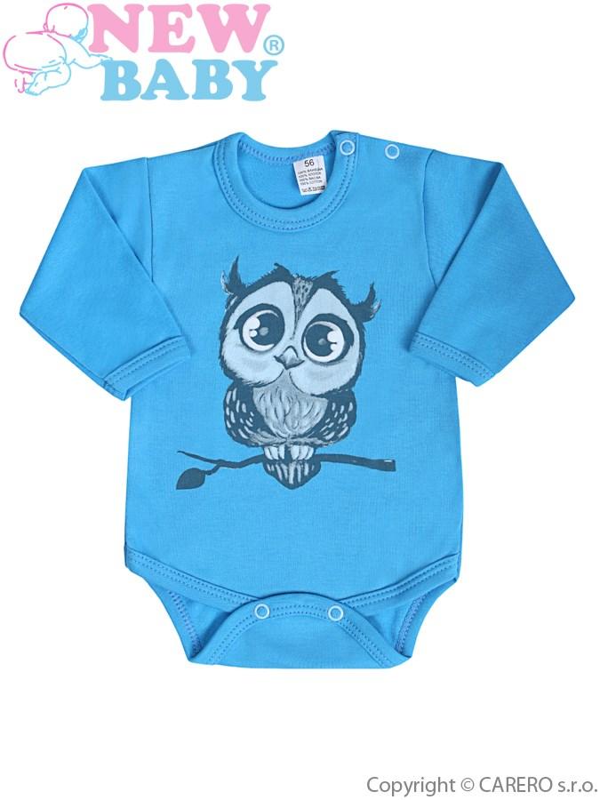 Dojčenské body s dlhým rukávom New Baby Sovička modré