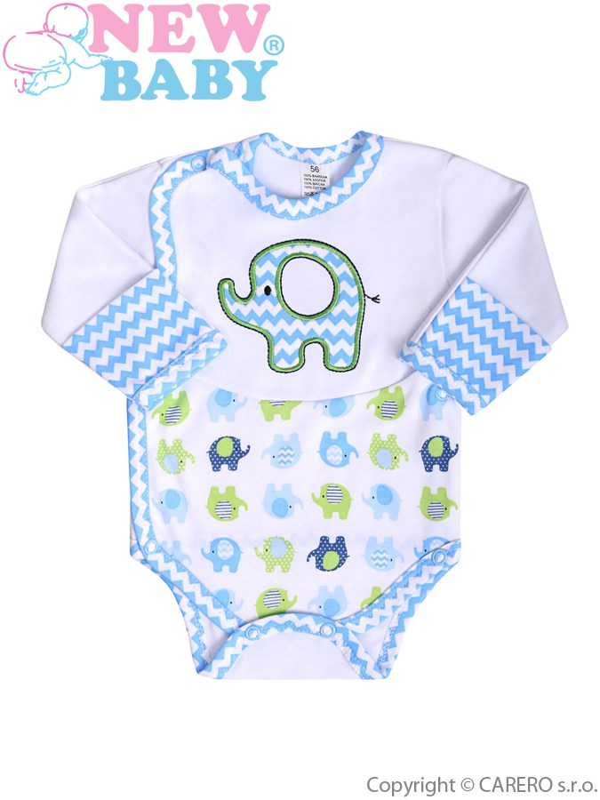 Dojčenské body s dlhým rukávom New Baby Sloník bielo-modré s bočným zapínaním